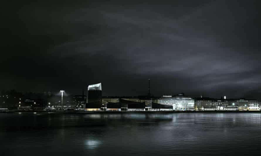 A computer-generated night view of the Helsinki Guggenheim.