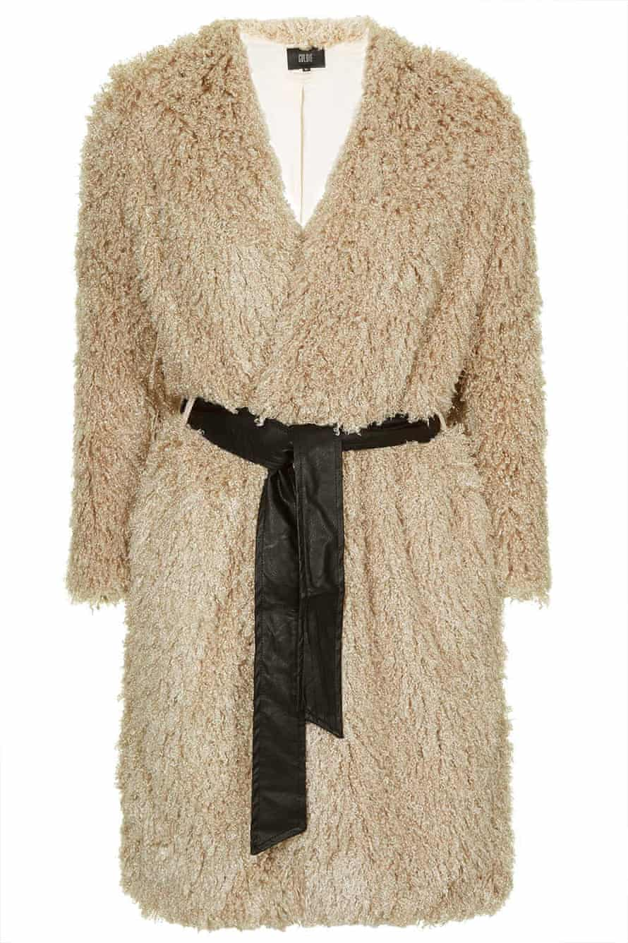 Topshop Beige Furry Coat With Leather PU Waist Tie by Goldie, £52