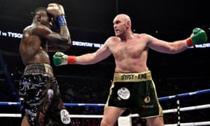 Fury and Wilder and Fury during the WBC Heavyweight Championship bout in Los Angeles