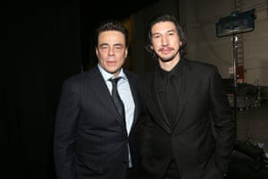 Benicio del Toro and Adam Driver at Star Wars: The Last Jedi Premiere at The Shrine Auditorium