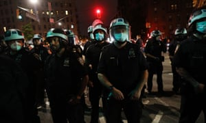 Police confront protesters as demonstrations continue in Brooklyn on May 29, 2020 in New York City.