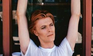 David Bowie on film set.