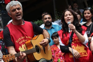 Members of Grup Yorum in Ankara protesting a decision to ban their concerts.