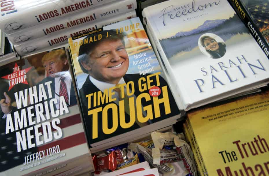 Books by president elect Donald Trump and former Republican vice-presidential candidate Sarah Palin on display at the 2016 Conservative Political Action Conference (CPAC) in Maryland.