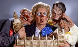 Spitting Image puppets of Neil Kinnock, Margaret Thatcher, David Owen and David Steel