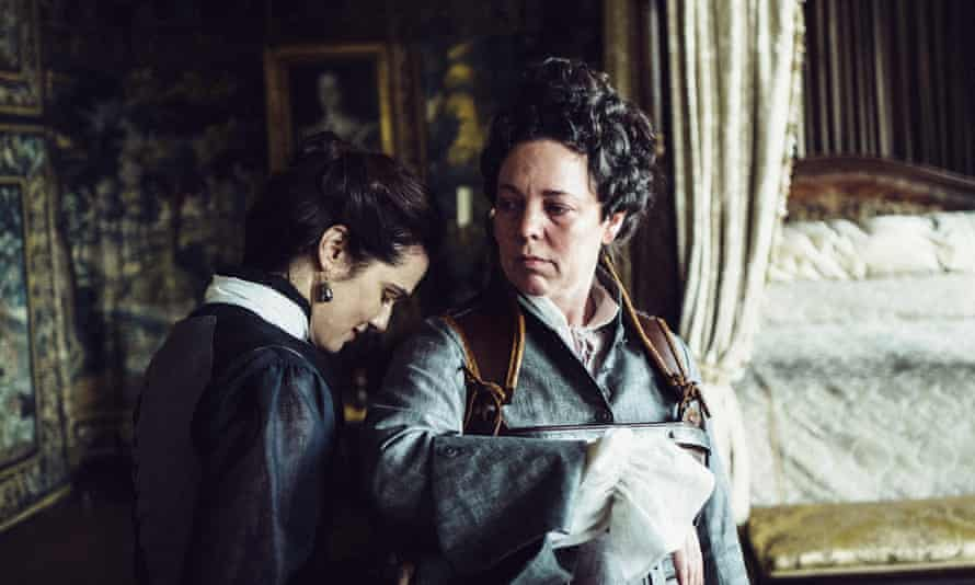 Olivia Colman (right) with Rachel Weisz in The Favourite