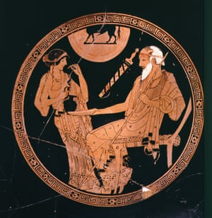 Slave girl Briseis pouring a libation for Achilles' tutor, Phoenix. Red-figure terracotta cup, 5th century BC.