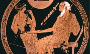 red-figure terracotta cup, 5th century, showing slave girl Briseis pouring libation for Achilles' tutor Phoenix, in a scene from the Iliad.