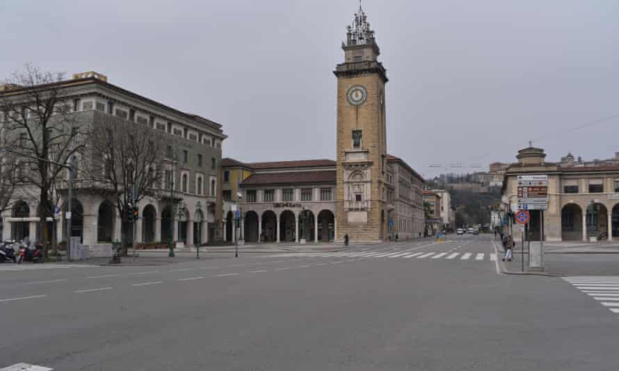 The city and provincial capital of Bergamo, in the Lombardy region of northern Italy, is said to be almost deserted as quarantine regulations are imposed.