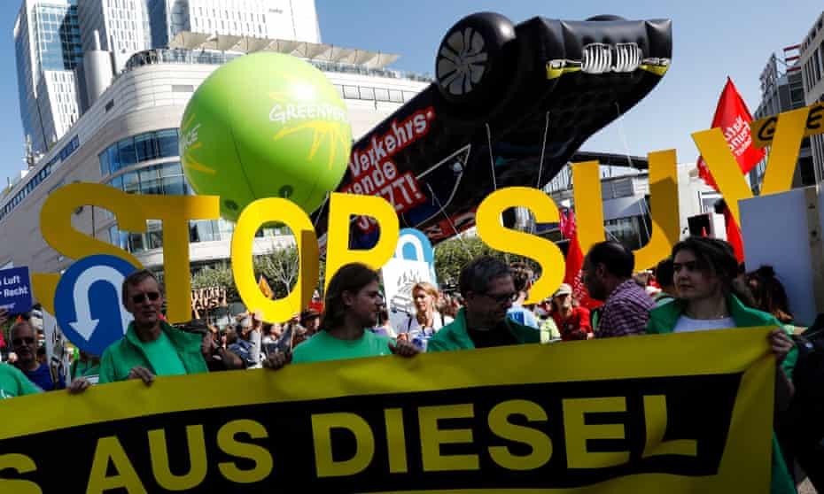 Greenpeace protesters outside the Frankfurt Motor Show.