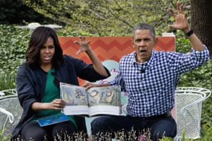Barack Obama wears a gingham shirt for the White House Easter egg roll
