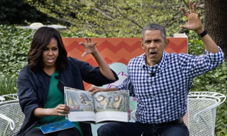 President Barack Obama and first lady Michelle Obama understand that Where the Wild Things Are is not just for children. Here they make claw hands and monster faces while reading it during White House Easter Egg Roll in March.