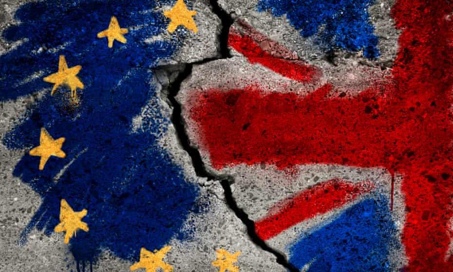 EU and UK flag on broken wall.
