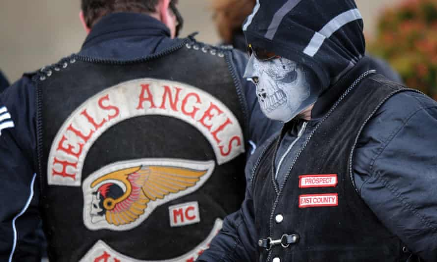 Members of the Hells Angels gather at a funeral in northern Melbourne.