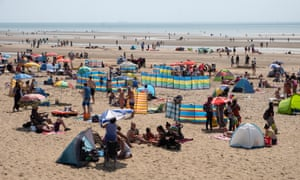 Busy beach Camber Sands.