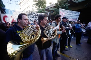 Greek Unions Hold A 24 Hour General Strike Against Austerity Measures<br>ATHENS, GREECE - NOVEMBER 12: A band marches against the government during a 24-hour nationwide general strike on November 12, 2015 in Athens, Greece. This is the first general strike since the country's Syriza-Led Government came to power. (Photo by Milos Bicanski/Getty Images)