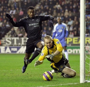 Chris Kirkland dives for the ball ahead of Chelsea's Salomon Kalou in 2006