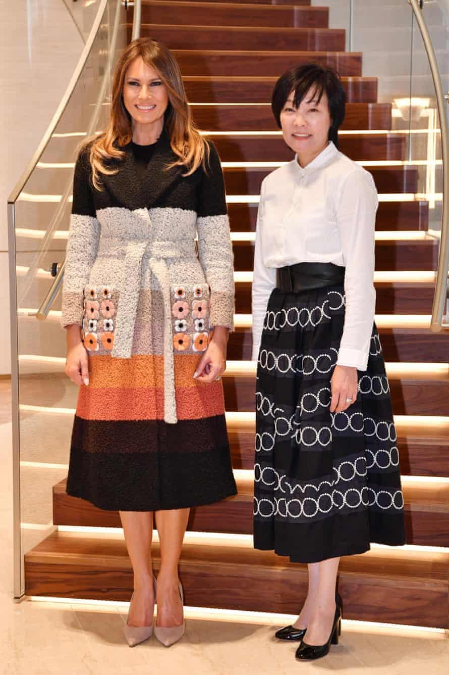 Melania Trump and Akie Abe, wife of the Japanese prime minister, Shinzō Abe.