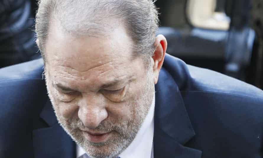 Harvey Weinstein arrives at a Manhattan courthouse for his rape trial on 24 February 2020