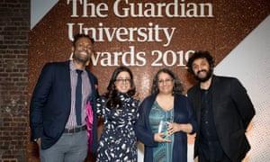 Guardian University Awards winners with host Nish Kumar.