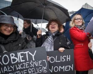 Brussels, BelgiumPolish women demonstrate in Brussels near the European commission