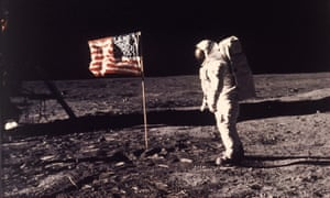 In this image provided by NASA, astronaut Buzz Aldrin poses for a photograph beside the U.S. flag deployed on the moon during the Apollo 11 mission on July 20, 1969. Television is marking the 50th anniversary of the July 20, 1969, moon landing with a variety of specials about NASA's Apollo 11 mission. (Neil A. Armstrong/NASA via AP, File)