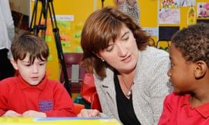 Nicky Morgan with schoolchildren