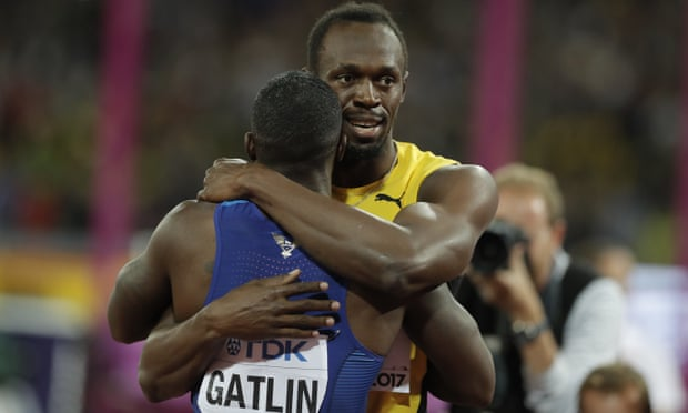 Usain Bolt embraces Justin Gatlin after the men's 100m final. Bolt's good grace in a rare but undeniably distressing defeat only added to his legacy.