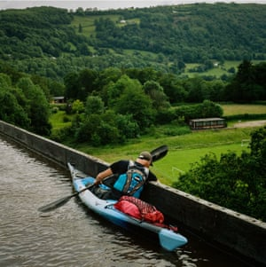 Kayaker on the Pontcysyllte aqueduct in North Wales