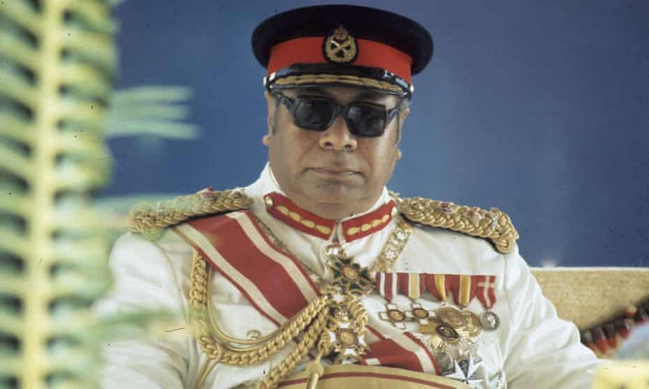 King Taufa'ahau Tupou lV of Tonga looks on during the visit of Queen Elizabeth ll and Prince Philip, Duke of Edinburgh to Tonga in February 1977.