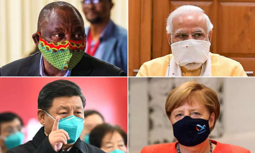 four world leaders wearing masks