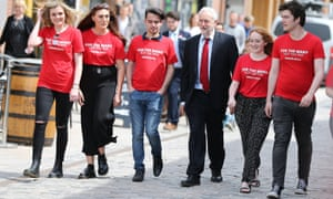Jeremy Corbyn walks with students at an election rally on 22 May in Hull, where he spoke about Labour's plans to scrap university tuition fees.