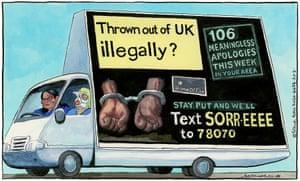 Steve Bell cartoon 20/03/20: Priti Patel and Theresa May in 'go home' van