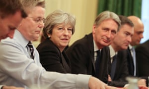 Theresa May and Tory cabinet ministers round the table