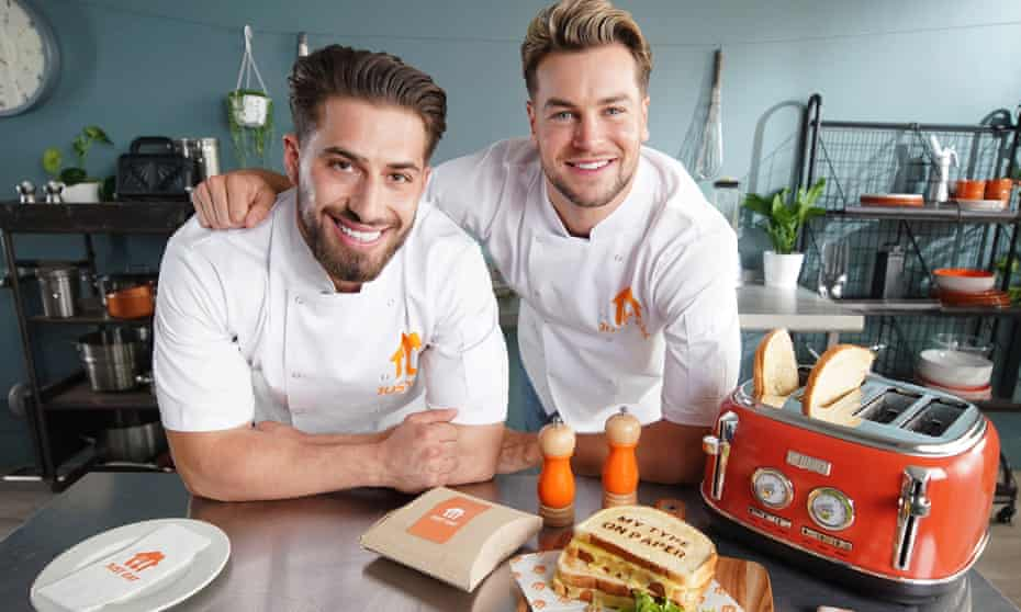 Kem Cetinay and Chris Hughes of Love Island fame help promote a new service available on Just Eat –Absolute Melts toasted cheese sandwiches with Love Island messages on them.