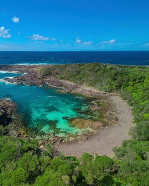 Aerial overlooking Bushrangers Bay on Bass Point, Shellharbour.