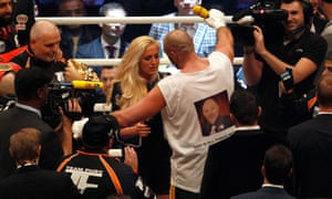 Fury celebrates with his wife Paris after beating Klitschko.