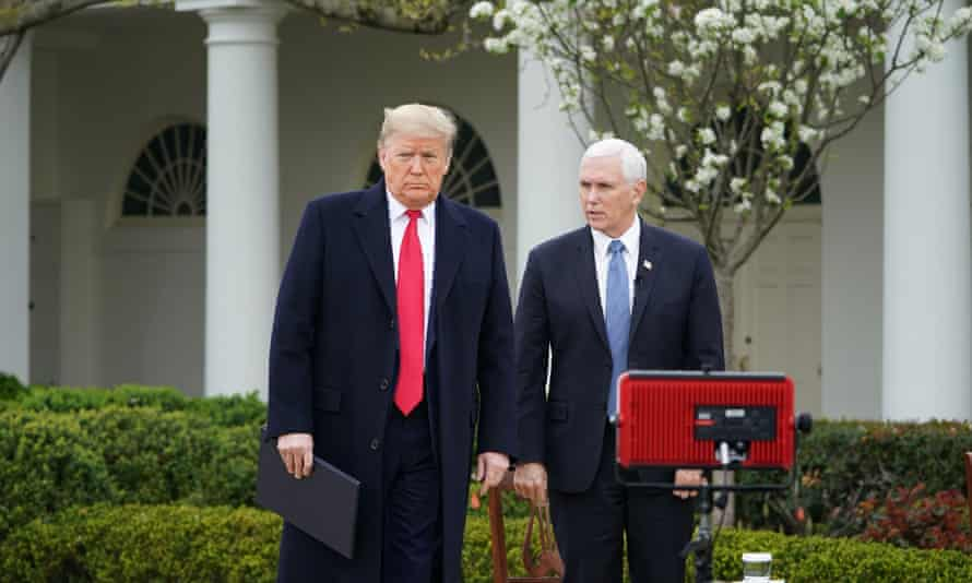 Donald Trump and Mike Pence at the White House in Washington DC, on 24 March.