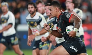 Ken Maumalo of the Warriors during the match against the North Queensland Cowboys at Mt Smart Stadium in Auckland on Saturday.