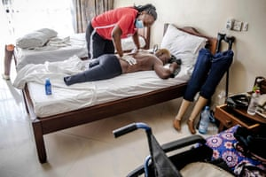 A massage and physiotherapy session from Team Kenya's physiotherapist Josephine Kaburu. Asiya lost her legs and several fingers after she was hit by a train when she was two years old.