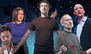 Left to right: Sergey Brin of Google, Sheryl Sandberg and Mark Zuckerberg of Facebook, Steve Jobs of Apple and Jeff Bezos of Amazon.