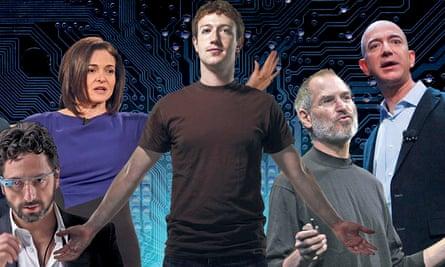 Left to right: Sergey Brin of Google, Sheryl Sandberg and Mark Zuckerberg of Facebook, Steve Jobs of Apple and Jeff Bezos of Amazon.