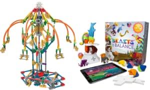 K'nex fairground-ride set and Beasts of Balance.