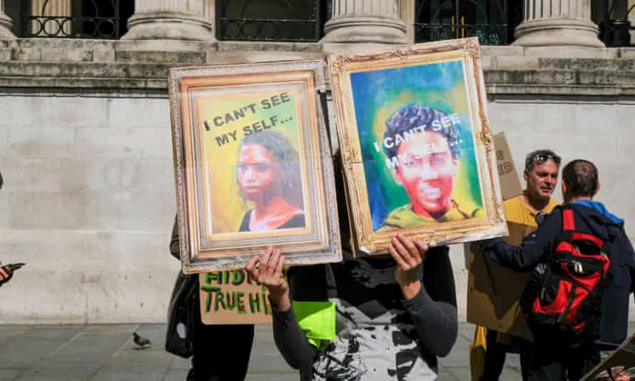 Black Lives Matter protest in support of black artists in Trafalgar Square in front of the National Gallery