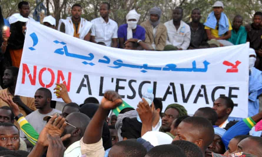 A banner reading 'No to slavery' during a demonstration against discrimination in Nouakchott, Mauritania, April 2015.