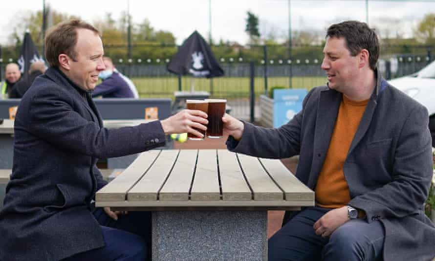 Conservative Tees Valley mayor Ben Houchen (right) on the campaign trail in Middlesbrough with health secretary Matt Hancock.