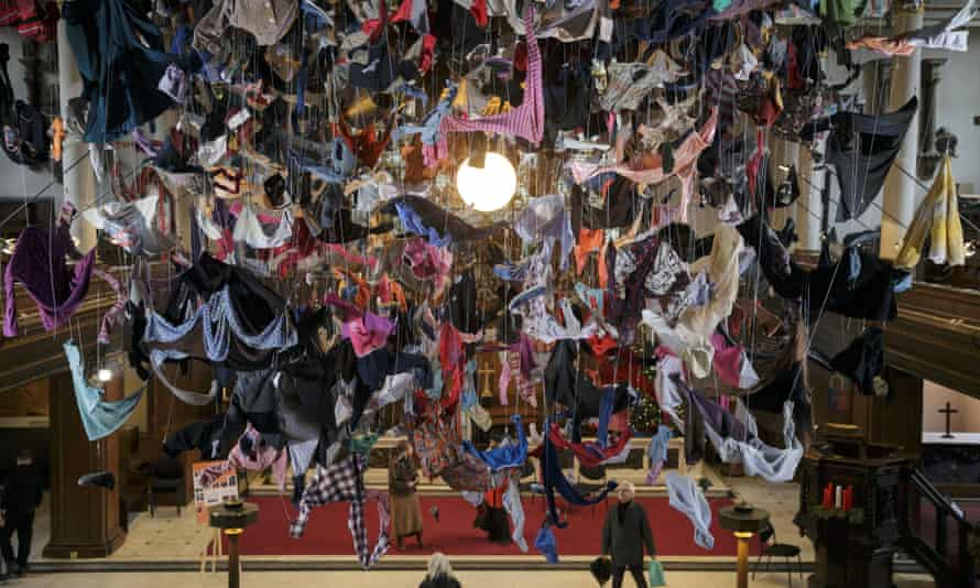 The installation is made up of 1,400 items of clothing shipped from Lesbos