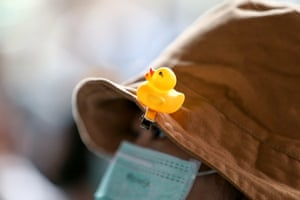 A rubber duck is pined on a protester's hat during an anti-government demonstration organized by the 'Bad Students' group