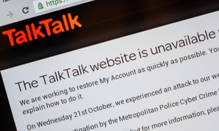 A message from TalkTalk during a cyber-attack.