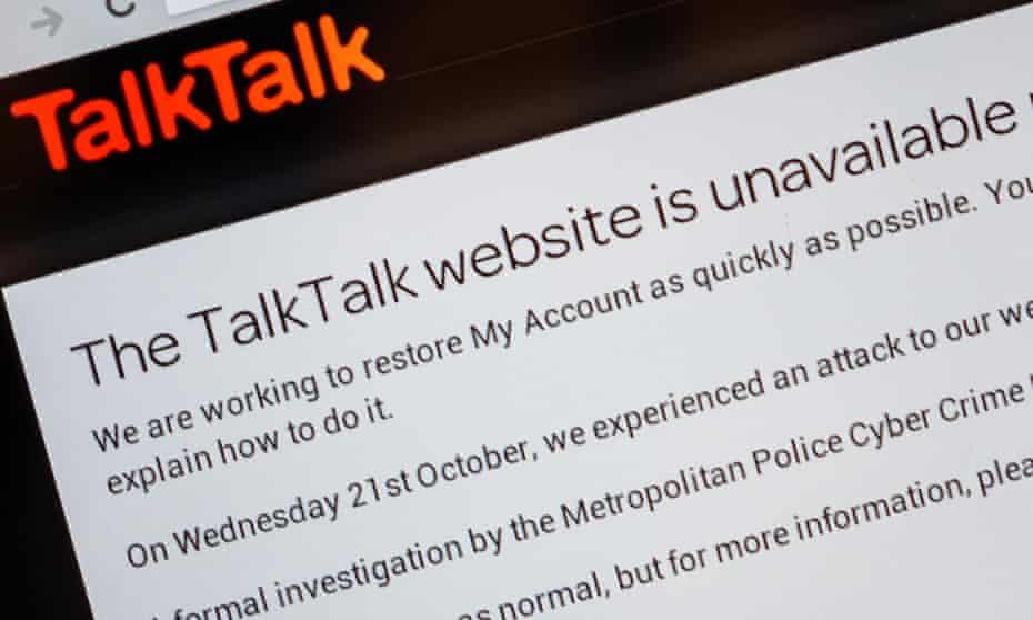 Screenshot of TalkTalk's hacked website